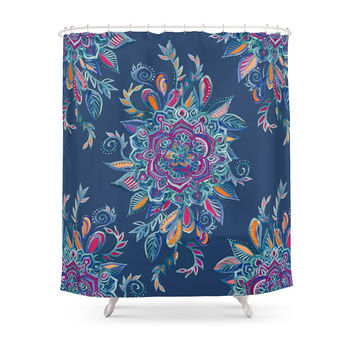 Society6 Deep Summer - Watercolor Floral Medallion Shower Curtains