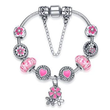 Presentski 925 Silver Plated Magnolia Flower and Cherry Blossoms Colour Enamels Charm Bracelet for Girls