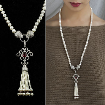 New Arrival Jewelry Gift Stylish Shiny Pearls 925 Silver Sweater Chain Necklace [4914866884]