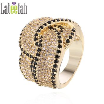 Lateefah Victoria Wieck Wedding Ring for Jewelry Collection Pave Cubic Zirconia Knot Shape Gold Color Cocktail Ring Anel Bague