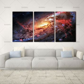 Canvas Print Paintings Wall Art  Space Landscape Decor Universe Galaxy Stars 3 Piece Space and Universe Picture Print on Canvas