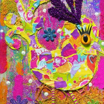 Colorful Whimsical Patchwork Bird Original Mixed Media Collage 5x7