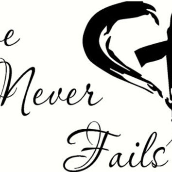 Love Never Fails - Bible verse wall decal.  1 Corinthians.  Exclusively from Scripture Wall Art