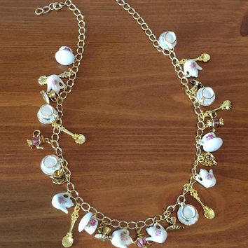 Charity Tea Necklace with Porcelain Tea Cups and Teapots and Gold Charms