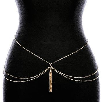Gold Layered Chain Tassel Belt