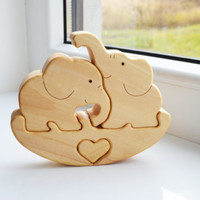 Puzzle Toy - Wooden Puzzle elephant - Educational toys - Wooden Swing - Kids gifts - Animal puzzle - elephant Family