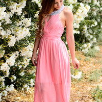 HE LOVES ME CHIFFON DRESS IN BLUSH