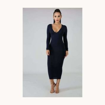Classic Comfy Midi Dress-Navy