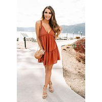 Break It Down Tiered Babydoll Dress (Rust)