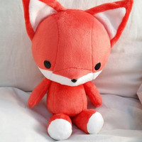 Cute Bellzi Orange w/ White Contrast Fox Plushie Doll 11 inch - Foxxi