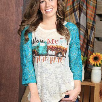 Follow Me To The Pumpkin Patch Burnout with Turquoise Lace Sleeves