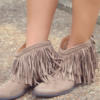What The Fringe Booties: Taupe (PRE-ORDER 11/12)
