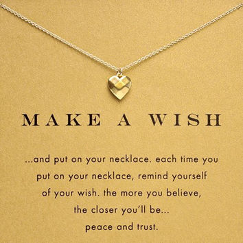 Hot Sale Sparkling Heart  make a wish plated gold Pendant necklace Clavicle Chains Necklaces Women Jewelry(Has card)