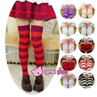 10 colors Cosplay Stripes Tall Girl Thigh High Long Socks SP130180