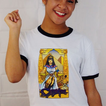 ReBELLEious Cleopatra T-Shirt. Queen Cleopatra Ringer Tee. Unisex Sizing.