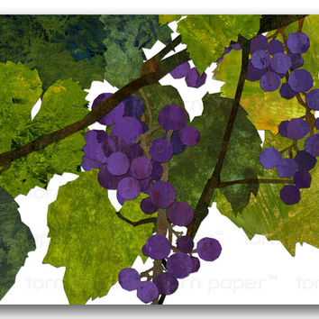GLORIOUS GRAPES - Summer Harvest Greeting Card - Also available as a Print with a Custom cut Mat - Great Gift (CTHA201214)