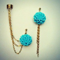 alapop — aqua flower ear cuff earrings