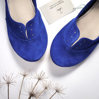 Blue Elettrico Soft Leather Handmade Oxford Shoes by elehandmade