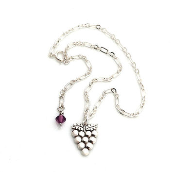Silver Anklets,  for Women, Grape Cluster, Novelty Jewelry, Wine Lover Gift, Wine Tasting, Ankle Bracelet, Grapes, Wine Themed Gift, 554