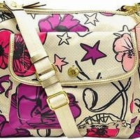 Coach Kyra Floral Print Stars Crossbody File Bag Messenger Handbag Purse 19229 Multi