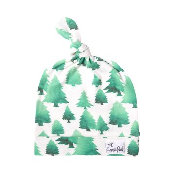 Newborn Top Knot Hat - Forest