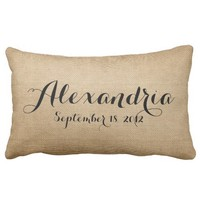 Burlap Baby Birth Date Name Heaven Sent