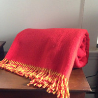 large Royal Scot yellow and orange reversible pure wool blanket 48x75 perfect condition Samuel Tweed & Co Great Britain