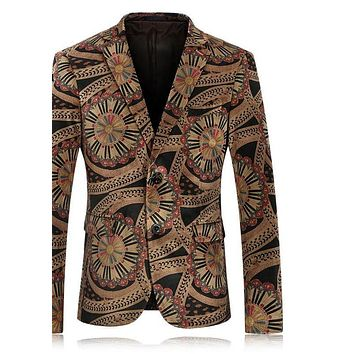 Men Floral Blazer Slim Fit Velvet Blazer Men Vintage Prom Suits Casual Male Stage Wear
