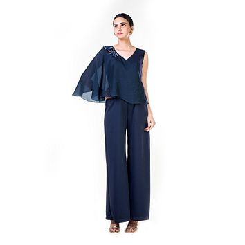 Blue Embroidered Cape Palazzo Jumpsuit
