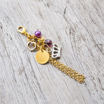 Gold planner charm with pearl and crystal, key accessory, women keychain, for planner agenda notebook, filofax, midori