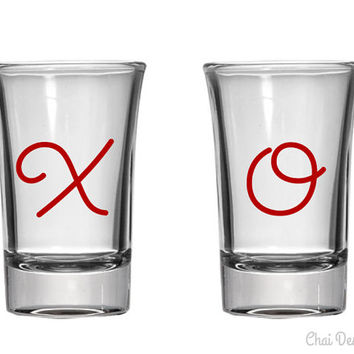 Set of 2 X O Hugs and Kisses Valentine's Day Shot Glasses