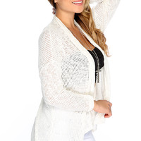 Casual Cute White Open Front Knitted Fall Cardigan