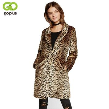 GOPLUS Europe Fashion Women Midum-Long Faux Fur Leopard Coat Women Faux Fur Jacket Casaco De Pele Falso Fur Coats Veste Fourrure