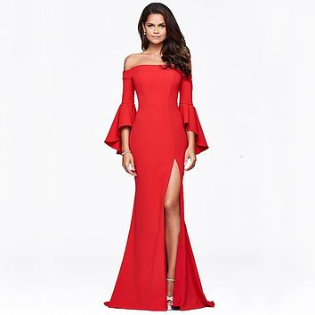 Boat Neck Trumpet Sleeve Long Red Mermaid Evening Dresses Robe De Soiree Muslim Formal Party Prom Gown Mother of Bride DressGG65