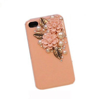 Handmade hard case for iPhone 4 & 4S: Bling Eiffel Daisy Pearl leaves(custom are welcome)