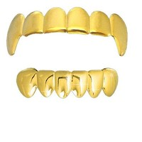 Solid Gold Tone Fangs Grillz SET Top/bottom!!!!