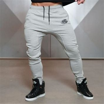 2017 NEW MEN GOLD JOGGERS FITNESS PANTS CASUAL ELASTIC COTTON MENS FITNESS WORKOUT PANTS SKINNY SWEATPANTS TROUSERS JOGGER PANT