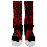 Red Snake Skin Kobe  Lebron 11 Fast Shipping!! Nike Elite Socks Customized Lebron 11 Scales