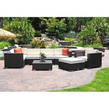 Sigma Modern Patio Furniture Outdoor Wicker Sectional Deep Seating Set 9 Piece