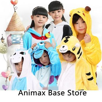 Children's Pajamas Autumn Winter Children Flannel Animal funny animal Stitch panda Pajamas Kid Sleepwear 22 colors available
