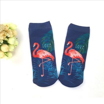 Red Flamingo 1 Pair Ankle Socks Low Cut Men Women Harajuku Fashion Animal Hot