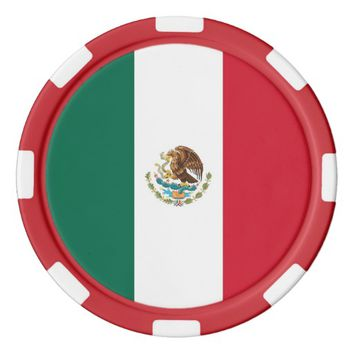 Poker chips with Flag of Mexico