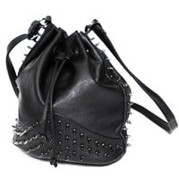 Spiked Leather Bucket Bag