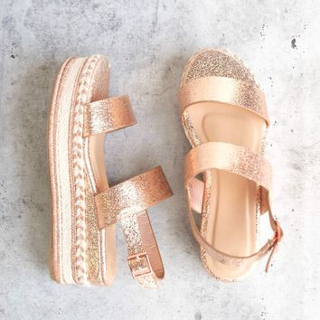 Rose Gold Glitter Single Band Espadrilles Platform Sandal with Ankle Strap