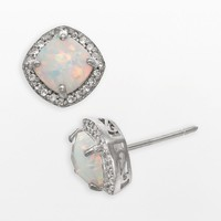 Sterling Silver Lab-Created Opal & Lab-Created White Sapphire Halo Stud Earrings (White/Silver/Sapphire)