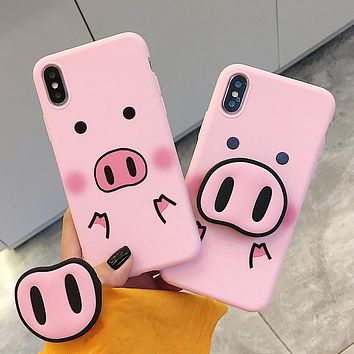 Funny Cartoon Pig Phone Case For iphone X XS Max XR Case For iphone 7 6s 8 8 plus Cover Cute Nose Soft Back Cases Animal Capa