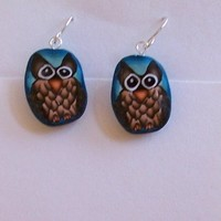 Handmade owl polymer clay earrings
