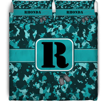 Turquoise Camouflage Monogrammed / Personalized Duvet Cover or Comforter Set