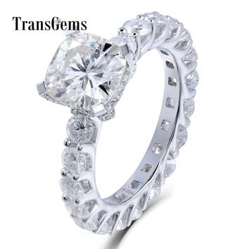 TransGems 2 Carat Cushion Cut 7.5MM Moissanite Diamond F Color Wedding Engagement Ring14K 585 White Gold for Women