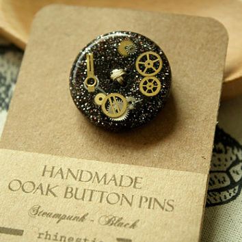 Handmade One-of-a-kind Button Pins | Steampunk (Black) || Accessories